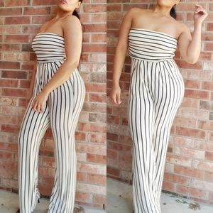 Pants - Ivory & Black Striped High Waist Tube Top Jumpsuit